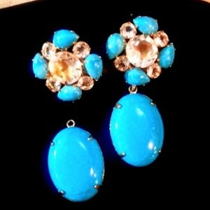 Bounkit convertible Turquoise Quartz earrings NWOT